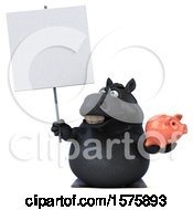 Poster, Art Print Of 3d Chubby Black Horse Holding A Piggy Bank On A White Background