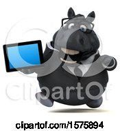 Clipart Of A 3d Chubby Black Business Horse Holding A Tablet On A White Background Royalty Free Illustration