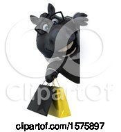 3d Chubby Black Business Horse Holding Shopping Bags On A White Background
