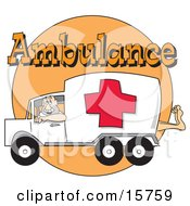 Man Driving An Ambulance With A Patients Foot Sticking Out Of The Back Lipart Illustration