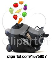 Clipart Of A 3d Chubby Black Business Horse Holding Produce On A White Background Royalty Free Illustration