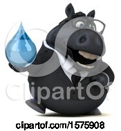 Clipart Of A 3d Chubby Black Business Horse Holding A Water Drop On A White Background Royalty Free Illustration