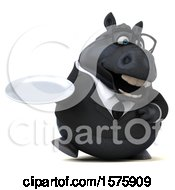 Clipart Of A 3d Chubby Black Business Horse Holding A Plate On A White Background Royalty Free Illustration