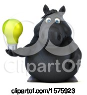 Poster, Art Print Of 3d Chubby Black Horse Holding A Light Bulb On A White Background