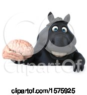 Clipart Of A 3d Chubby Black Horse Holding A Brain On A White Background Royalty Free Illustration