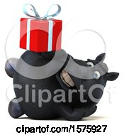 Poster, Art Print Of 3d Chubby Black Horse Holding A Gift On A White Background