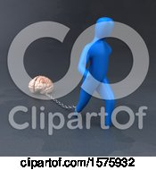 Clipart Of A 3d Man Chained To A Brain Royalty Free Illustration by Julos