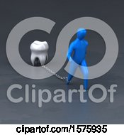 Clipart Of A 3d Man Chained To A Tooth Royalty Free Illustration by Julos