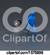 Clipart Of A 3d Man Chained To A Dumbbell Royalty Free Illustration by Julos