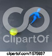 Clipart Of A 3d Man Chained To A Light Bulb Royalty Free Illustration by Julos