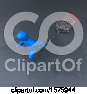 Clipart Of A 3d Man Chained To A Shopping Cart Royalty Free Illustration by Julos