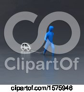 Clipart Of A 3d Man Chained To A Car Royalty Free Illustration by Julos