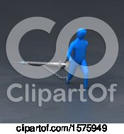 Clipart Of A 3d Man Chained To A Syringe Royalty Free Illustration by Julos