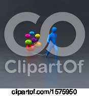 Clipart Of A 3d Man Chained To Messages Royalty Free Illustration