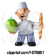 3d Short White Male Chef Holding A Bell Pepper On A White Background