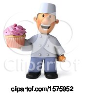 3d Short White Male Chef Holding A Cupcake On A White Background