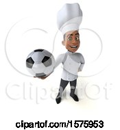 3d Young Black Male Chef Holding A Soccer Ball On A White Background