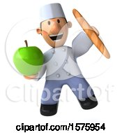 3d Short White Male Chef Holding An Apple On A White Background
