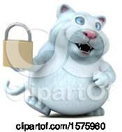 Clipart Of A 3d White Kitty Cat Holding A Padlock On A White Background Royalty Free Illustration