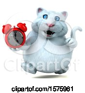 Clipart Of A 3d White Kitty Cat Holding An Alarm Clock On A White Background Royalty Free Illustration