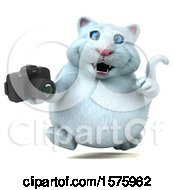 Clipart Of A 3d White Kitty Cat Holding A Camera On A White Background Royalty Free Illustration