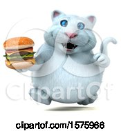 3d White Kitty Cat Holding A Burger On A White Background