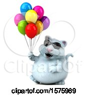 Clipart Of A 3d White Kitty Cat Holding Balloons On A White Background Royalty Free Illustration