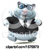 Clipart Of A 3d White Business Kitty Cat Running On A White Background Royalty Free Illustration