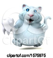 Clipart Of A 3d White Kitty Cat Holding A Tooth On A White Background Royalty Free Illustration
