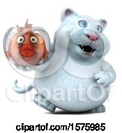 3d White Kitty Cat Holding A Fat Fish In A Bowl On A White Background