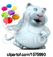 Clipart Of A 3d White Kitty Cat Holding Messages On A White Background Royalty Free Illustration