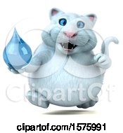 Clipart Of A 3d White Kitty Cat Holding A Water Drop On A White Background Royalty Free Illustration