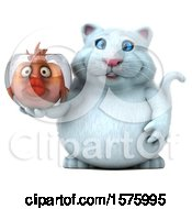 Clipart Of A 3d White Kitty Cat Holding A Fat Fish In A Bowl On A White Background Royalty Free Illustration