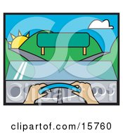 Womans Hands On The Steering Wheel Of A Car Facing A Blank Sign And A Fork In The Road Clipart Illustration