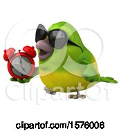 Poster, Art Print Of 3d Green Bird Holding An Alarm Clock On A White Background