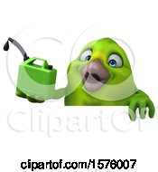 Clipart Of A 3d Green Bird Holding A Gas Can On A White Background Royalty Free Illustration by Julos