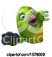 Poster, Art Print Of 3d Green Bird Holding A Camera On A White Background