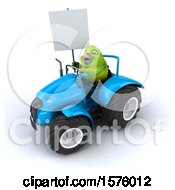 Clipart Of A 3d Green Bird Driving A Tractor On A White Background Royalty Free Illustration by Julos