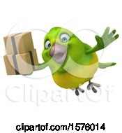Clipart Of A 3d Green Bird Holding Boxes On A White Background Royalty Free Illustration by Julos