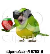 Clipart Of A 3d Green Bird Holding A Strawberry On A White Background Royalty Free Illustration by Julos