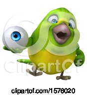 Clipart Of A 3d Green Bird Holding An Eye On A White Background Royalty Free Illustration by Julos