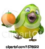 Clipart Of A 3d Green Bird Holding An Orange On A White Background Royalty Free Illustration by Julos
