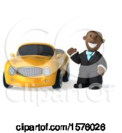 Clipart Of A 3d Short Black Business Man By A Convertible Car On A White Background Royalty Free Illustration