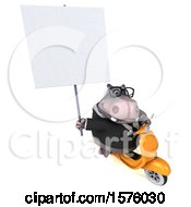 3d Business Hippo Riding A Scooter On A White Background