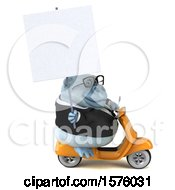 3d White Business Monkey Yeti Riding A Scooter On A White Background