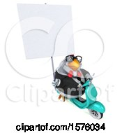 Poster, Art Print Of 3d Chubby White Business Chicken Riding A Scooter On A White Background