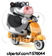 Clipart Of A 3d Business Holstein Cow Riding A Scooter On A White Background Royalty Free Illustration