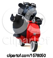 Clipart Of A 3d Black Business Bull Riding A Scooter On A White Background Royalty Free Illustration