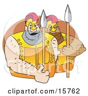 Couple Of Huge Male Gladiators With Spears Clipart Illustration