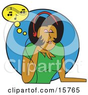 Beautiful Young African American Woman In A Green T Shirt Relaxing While Listening To Tunes Through Music Headphones Clipart Illustration